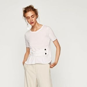 NWT Zara Corset T-Shirt with Snap Buttons